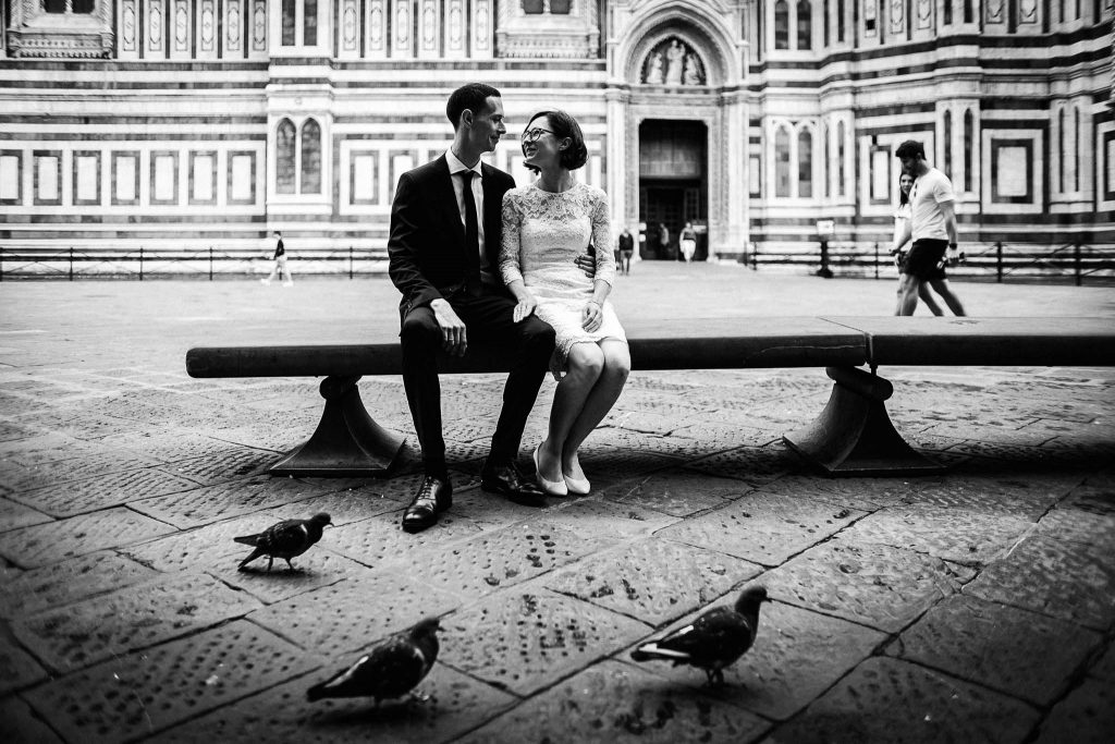 Servizio fotografico di coppia dopo il matrimonio a Firenze