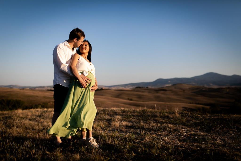 foto di gravidanza in val d'orcia
